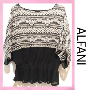 ALFANI Sheer Lace Winged Top XL